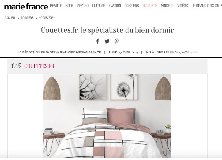 Couettes.fr, le spécialiste du bien dormir - Marie France Avril 2021